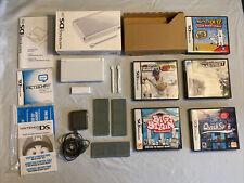 Nintendo DS Lite White - Original Box - 5 Games and 3 Cartridge Holders
