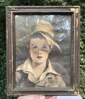 Antique Framed Print Lithograph Framed Young Boy Serious Face In Hat Primitive