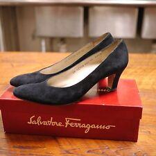 SALVATORE FERRAGAMO Clarissa Black Calf Leather Suede Pumps Shoes 10AAAA 41