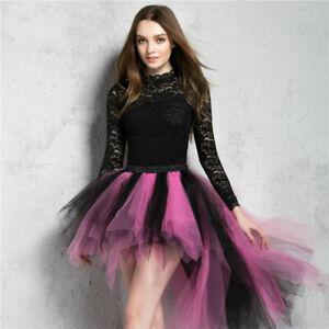 Women Tulle Tutu Bustle Skirt Petticoat Clubwear Fancy Dance Asymmetric Dress