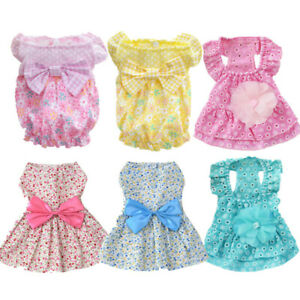 Lot of 6 Dog Clothing Small Dog Dress Puppy Outfit Clothes Skirt for Yorkie Cat