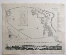 Vintage Original 1845 Topographic Map & Drawings 'Pompeii' City in Italy