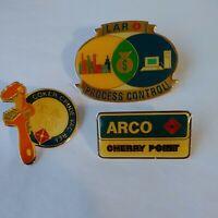 Set 3 ARCO Lapel Pins Atlantic Richfield Oil Company Gasoline Petroleum Refinery