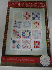 """Simply Sampled Skill Building Sampler Quilt Pattern 54"""" x 67"""" Flying Geese"""