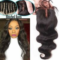 "4""x4"" Lace Closure Indian Human Hair Wavy hair lace front closure 3 part style"
