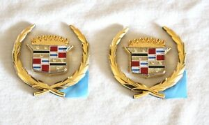 CADILLAC 24K GOLD PLATED SAIL PANEL WREATH CREST SET- 70'S 80'S 90'S NEW 4 PCS