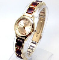 X223T Women's Celebrity Style Wrist Watch Gold Brown Bracelet Luxury Small Dial