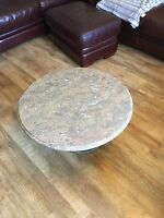 solid round marble coffee table