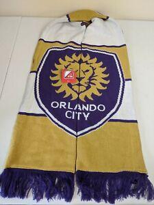 Adidas Orlando City MLS Soccer Scarf Yellow Purple Fringe