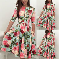 Womens Elegant Formal Business Office Work Dress Midi Tunic Party Floral Bodycon