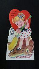 Vintage Sweeping & Bear Rug valentine Card c. 1950s