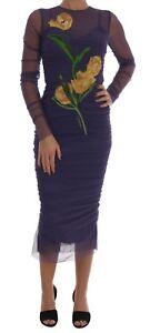 NEW $5400 DOLCE & GABBANA Dress Purple Floral Tulip Stretch Sheath IT40 /US6 / S