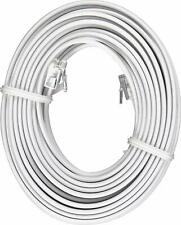 White 25' ft Telephone Modular Line Cord Phone Cable Extension Wire RJ11 NEW