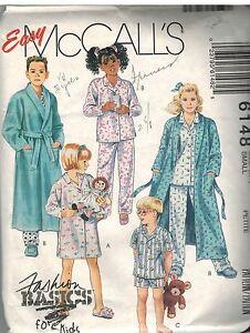 6148 Vintage Mccalls Patrón de Costura Chicas Túnica Corbata Belt Camisón Pijama