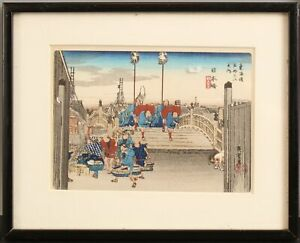 Antique Utagawa Hiroshige Woodblock Print View Nihon Bridge, 53 Stations Tokaido