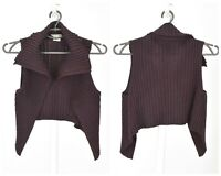 Womens Sarah Pacini Knit Vest Jumper Merino Wool Blend Purple Lagenlook One Size