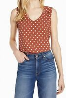 Halogen Womens Blouse Rust Red Size Small S Polka-Dot V-Neck Tank $49 216