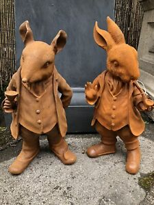 Cast Iron Mr Ratty and Mr Rabbit Ornament Statue with Rusty Finish Large