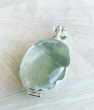 Sterling silver handcrafted Oval antique glass locket Pendant Brand New