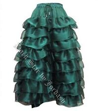Ladies Green Gothic Steampunk Medieval Victorian Layered Boho Skirt Size 10-18