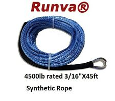 """New Runva ATV 2000-2500lb Synthetic Winch Rope 3/16"""" X 45ft Rated 4500lb SY 5X14"""