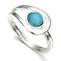 Elegant Silver Turquoise Gemstone Ring Wedding Party Women Jewelry Gift Sz 6-10