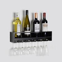 Wall Mount Wine Rack Bottle Champaign Glass Holder Bar Accessory WHITE BLACK