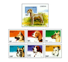 BEN9508 Purebred dogs block and 6 stamps
