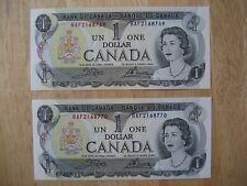 Canadian 1973 consecutive $1 bank notes, 2 pieces. Crisp, Uncirculated.