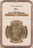 1963 Canada Silver Dollar $1 Elizabeth II NGC MS61