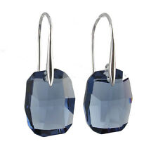 Boucles d'oreilles argent massif pendentif cristal Swarovski bleu fumé radiant
