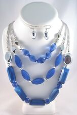 New 3 Row Rhodium Chain Necklace With Blue Beading & Matching Earrings #N2305