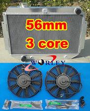 "56MM 3 ROW HOLDEN HQ HJ HX HZ 253 & 308 V8 aluminum radiator + 2 × 10""12V Fans"