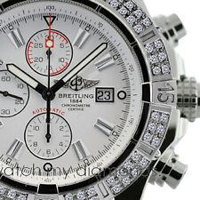 Breitling Super Avenger Watch A13370 White Sticks Dial 2.00ct 2 Row Bezel