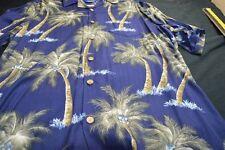 Bapu Palm Tree Navy Blue Short Sleeve Button XL ( NO SIZE TAG)  Men's Shirt