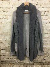 Anthropologie Sleeping On Snow Faux Fur Open Sweater Cardigan Womens Size M