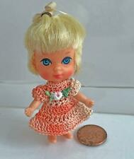 """Clothes for Tiny 2 3/4"""" Kiddles Doll Peach Multi Dress OOAK Lot MK-9 USA made"""