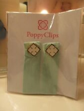 Poppy Clips Clothing Accessories Mint Green w/White & Gold! 1 Set