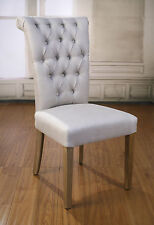 2 x Dining Chairs Linen French Provincial Oak Bedroom Chair Furniture Brand New