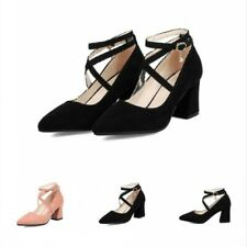 New Women's Pointy Toe Cross Strap Block Heel Pumps Shoes Mary Janes 41/42/43 D