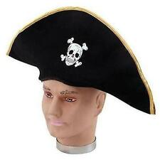 ** BLACK PIRATE HAT SKULL FANCY DRESS NEW ** BUCANEER