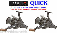2 DAM QUICK SLS DLX 970FS FREE SPOOL REELS BIG PIT FOR PIKE CARP ROD POD FISHING
