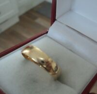 Vintage 9ct Yellow Gold Wedding Ring Band h/m 1987 Birmingham - size  R / S
