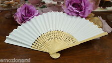 20 fans bianchi WEDDING hand fan card e bambù bride placeholder wood