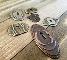 6 Keyhole Pendants Charms Cabochons Assorted Silver Bronze Copper Lock Steampunk