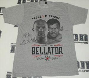 Fedor Emelienenko Matt Mitrione Signed Official 2017 Bellator MMA Shirt BAS COA
