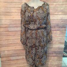Sundance Womens Small Province Rose Floral Silk Pocket Long Sleeve Dress W/Slip