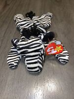 Original Ty Beanie Baby ZIGGY The Zebra Style 4063 W/Tag (Bent) VTG