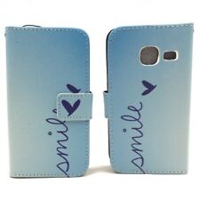 Cases for Samsung Galaxy J1 Mini Smile Blau Pouch Case Faux Leather New