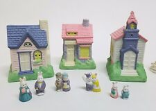 1990 Hopalong Hollow Ten Piece Easter Village Set Bunnies, Houses, Rabbits Decor